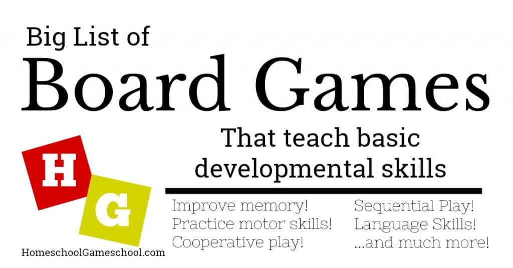 Board Games that Teach Developmental Skills improve memory, motor skills, language skills, cooperation, sequential play, and much more!
